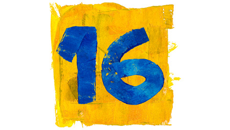 number 16: Number 16 of blue paint in yellow square Stock Photo