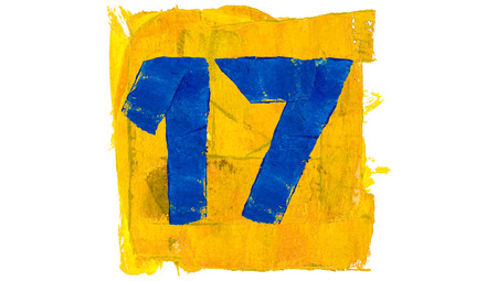 17: Number 17 of yellow and blue paint colors square Stock Photo