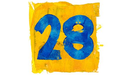 28: Number 28 of blue and yellow painting colours