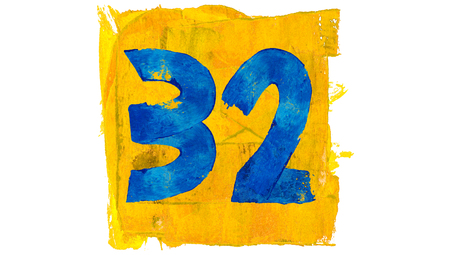 32: 32 of colorful blue and yellow painting colors Stock Photo
