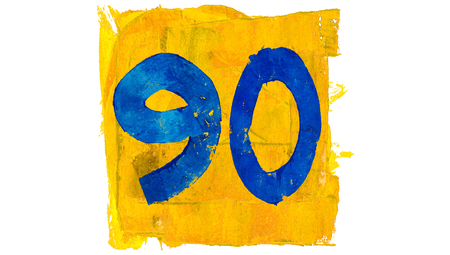 Number 90 or ninety of blue paint in yellow square rustic brushes Stock Photo
