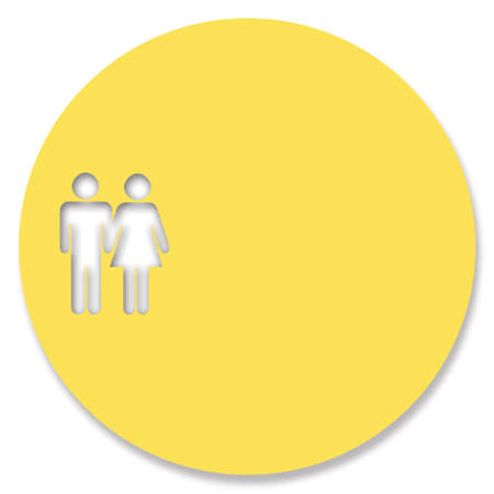 heterosexual: Little heterosexual couple in a circle to write a message Stock Photo