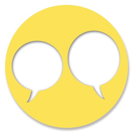 chat bubbles: Chat yellow circular button bubbles