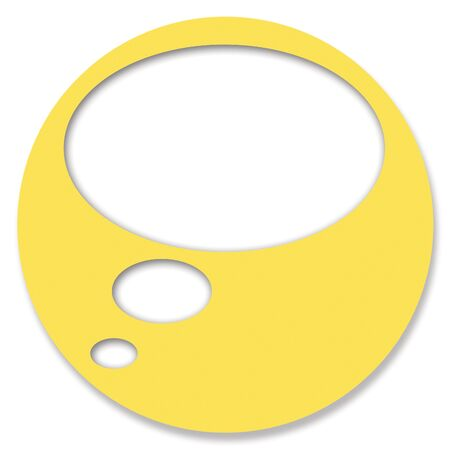 hole in one: Yellow circular chat web button on white background