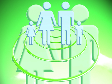 abducted: Couple of persons planning a family green abstract illustration