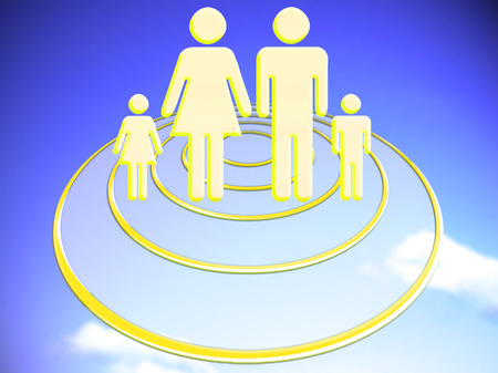 foresee: Family travelling on circular transparent UFO ship Stock Photo