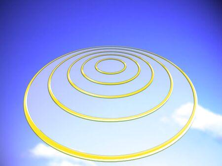 Transparent circular UFO on blue sky illustration background