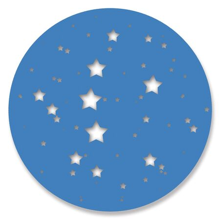 hole in one: Blue night stars sky circle isolated on white background Stock Photo