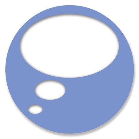 thinking bubble: Chat blue circular button with thinking bubble Stock Photo