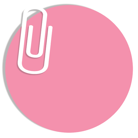 pinkish: Empty pink circular notes paper with a paperclip