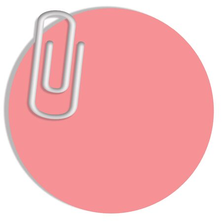 sticky paper: Pink circle of sticky paper with a paperclip for messages Stock Photo
