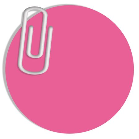 adhesive: Circular pink adhesive note with paperclip Stock Photo