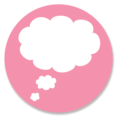 hole in one: White cloud of dream for your text in pink circular background Stock Photo