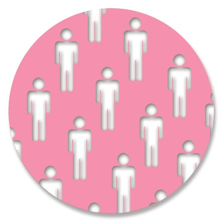 genders: Man shaped holes in pink circle