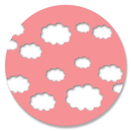 oldish: Oldish pink color circle with white sky clouds