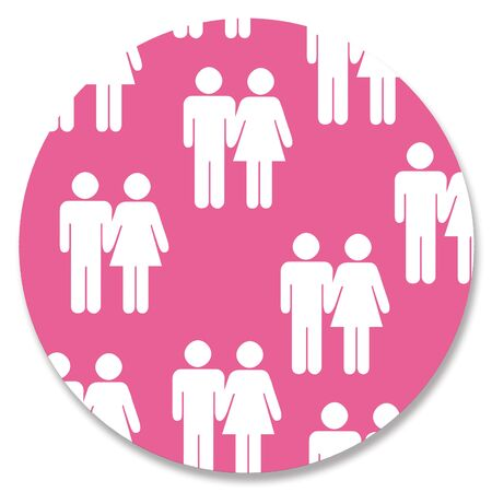 heterosexual: Heterosexual couples silhouettes in pink circle Stock Photo