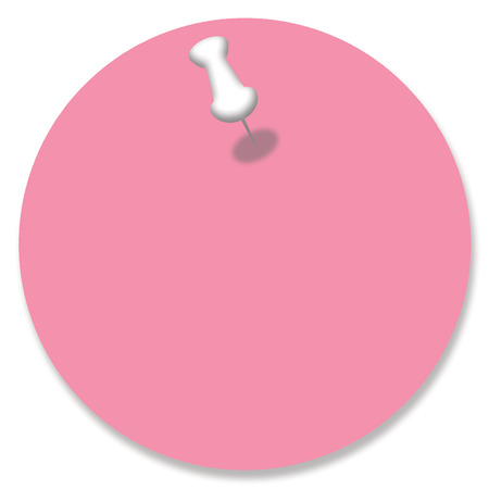 nailed: Pink circle of paper note pinned