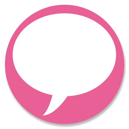 hole in one: Web button pink circle with talk bubble empty space for text Stock Photo