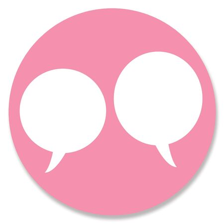 pinkish: Web button pink circle with two conversation bubbles