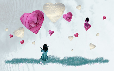 Dreaming child on sky with loving hearts and roses