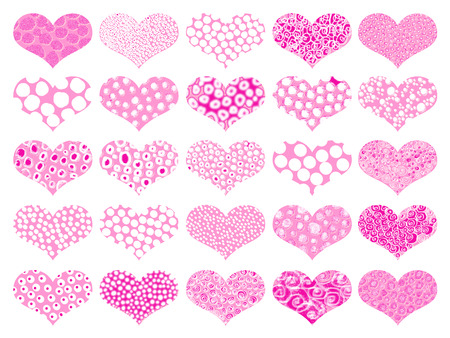 magentas: Pink hearts with spots textures set Stock Photo