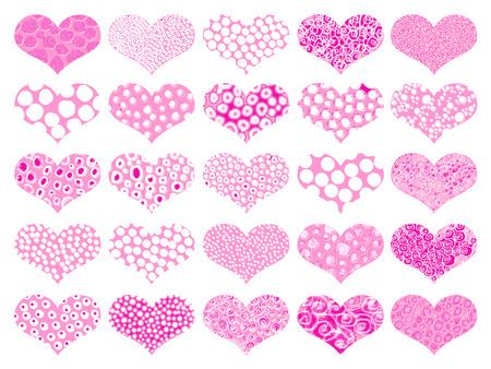 naif: Pink hearts with spots textures set Stock Photo