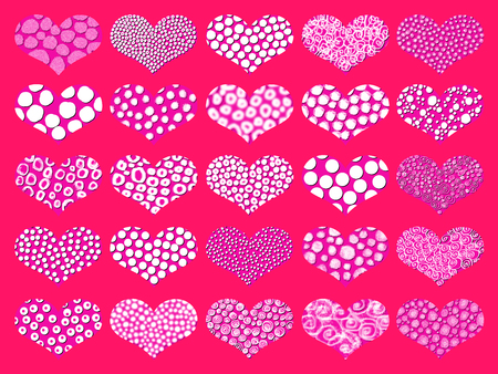 fuchsias: Spotted hearts set on pink color
