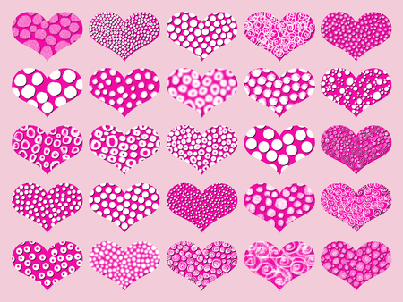 magentas: Pink hearts set with different textures Stock Photo