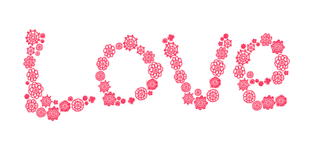 needle laces: Pink crochet circles with love shape isolated on white background Stock Photo