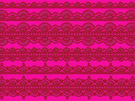 manjar: cordones rojos demale delicadeza en el fondo de color rosa Foto de archivo