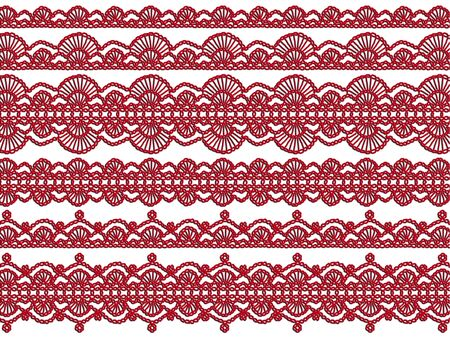 needle laces: Red laces design isolated on white background