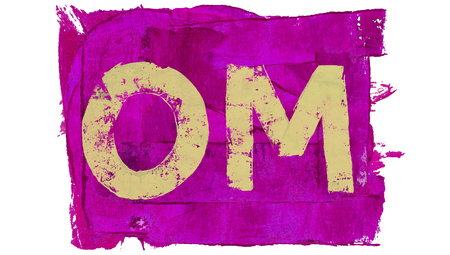 mantra: Om sacred mantra sylabe on purple paint Stock Photo