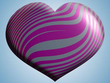 helium balloon: Purple stripes on metallic helium balloon of heart shape Stock Photo