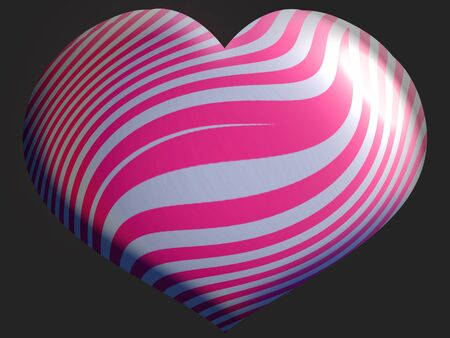 brilliant heart: Brilliant heart striped pink balloon stripes on black Stock Photo
