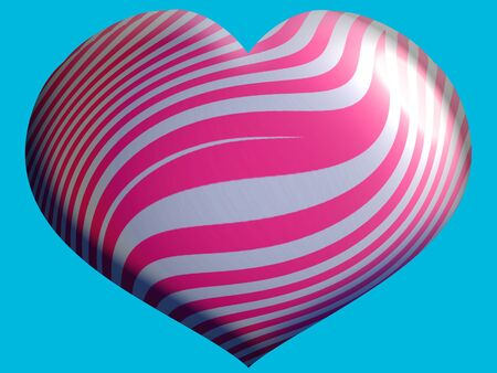 aniversaries: Pink and silver striped heart shape balloon close up on blue sky background