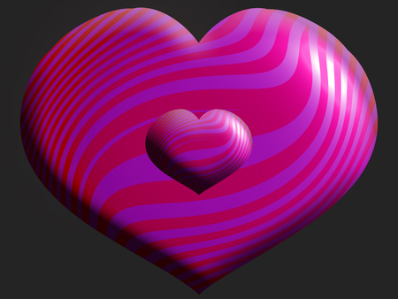 aniversaries: 3D pink striped hearts of two sizes on dark background Stock Photo