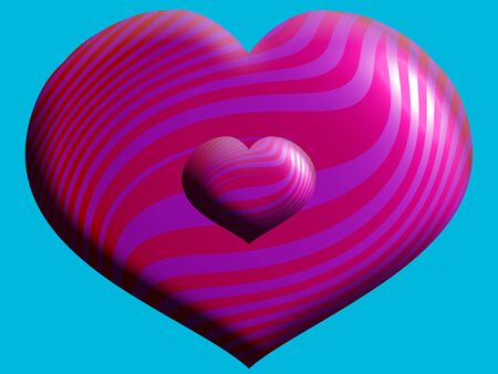 big and small: 3D Pink big and small hearts close up Stock Photo