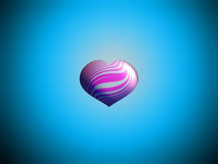 pink stripes: Pink stripes heart balloon floating on blue sky background Stock Photo