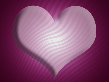 3d heart: Purple 3D heart shape abstract striped background