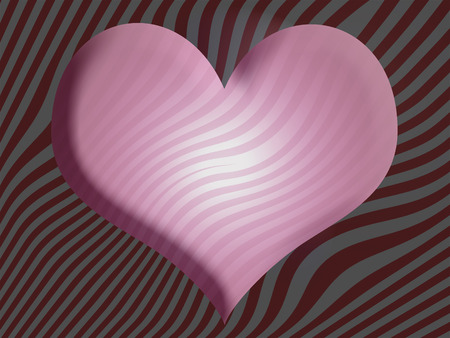 3d heart: Pink 3D heart on striped abstract backdrop