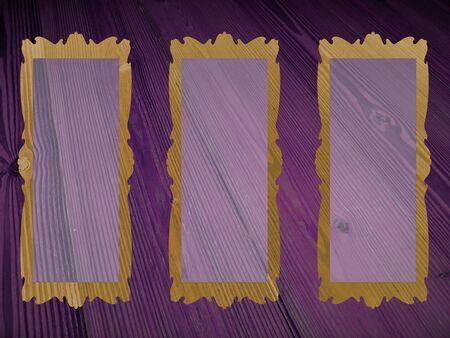 Three empty rectangular frames on purple wood background