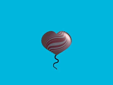 spermatozoid: Heart shape helium balloon with tail on turquoise sky background Stock Photo