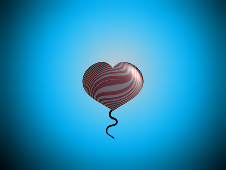 spermatozoid: Love b-day present heart balloon on sky background