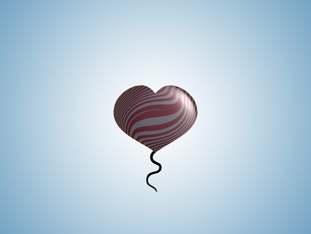 spermatozoid: Heart balloon with tail flying in blue sky