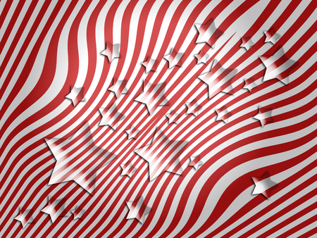 transmutation: Transparent stars on striped background of red and white colors