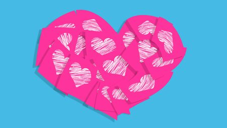 communicated: Pink heart of hearts notes on blue