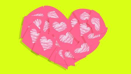 pinkish: Pinkish orange heart of love notes with hearts Stock Photo