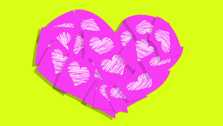 posted: Pink sticky notes with heart shape