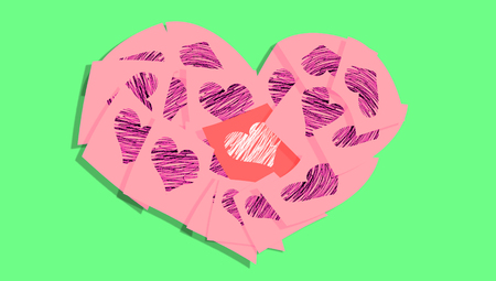 february 1: Vintage love notes with heart shape