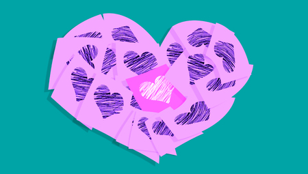 february 1: Office love messages with heart shape Stock Photo